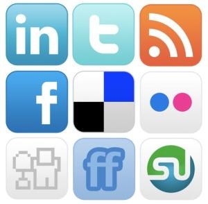 Ikoner för olika sociala medier.